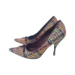 Miu Miu Plaid Wool Pumps Made in Italy Size 38
