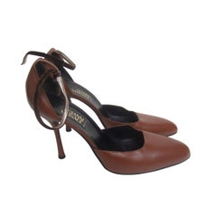 Gianni Versace Caramel Brown Leather Ankle Strap Pumps Size 41