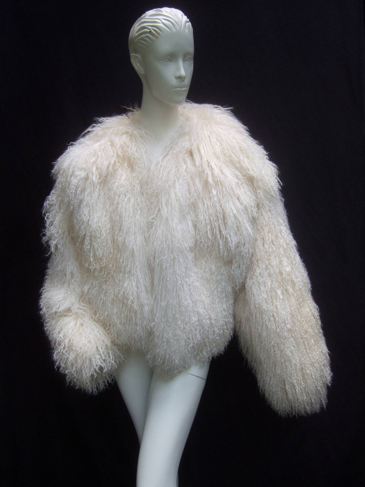 Tibetan Fluffy Lamb Fur Chubby Jacket for Neiman Marcus c 1980s 8
