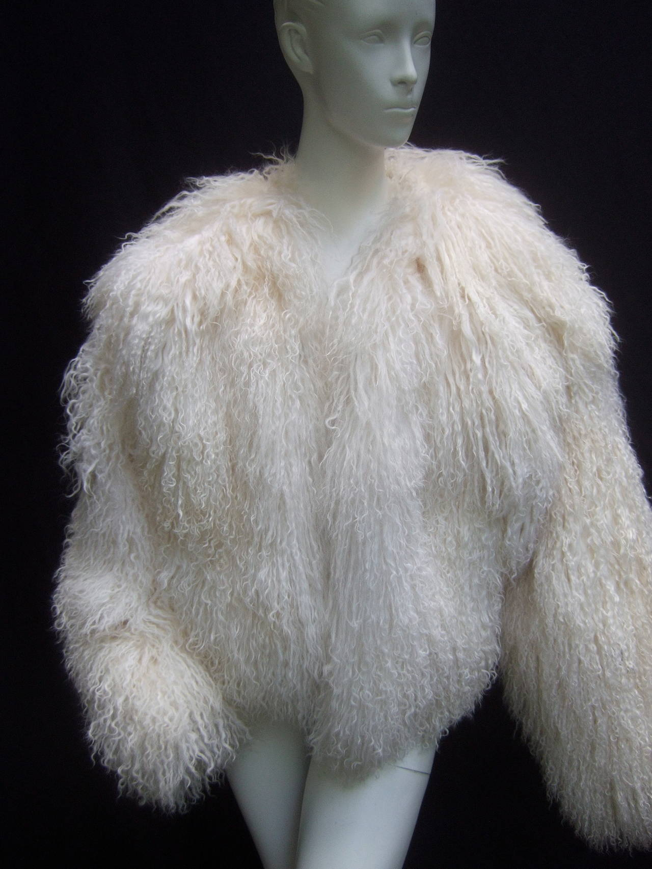 Tibetan Fluffy Lamb Fur Chubby Jacket for Neiman Marcus c 1980s 6
