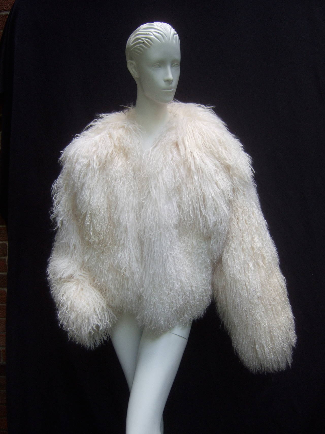 Tibetan Fluffy Lamb Fur Chubby Jacket for Neiman Marcus c 1980s 5