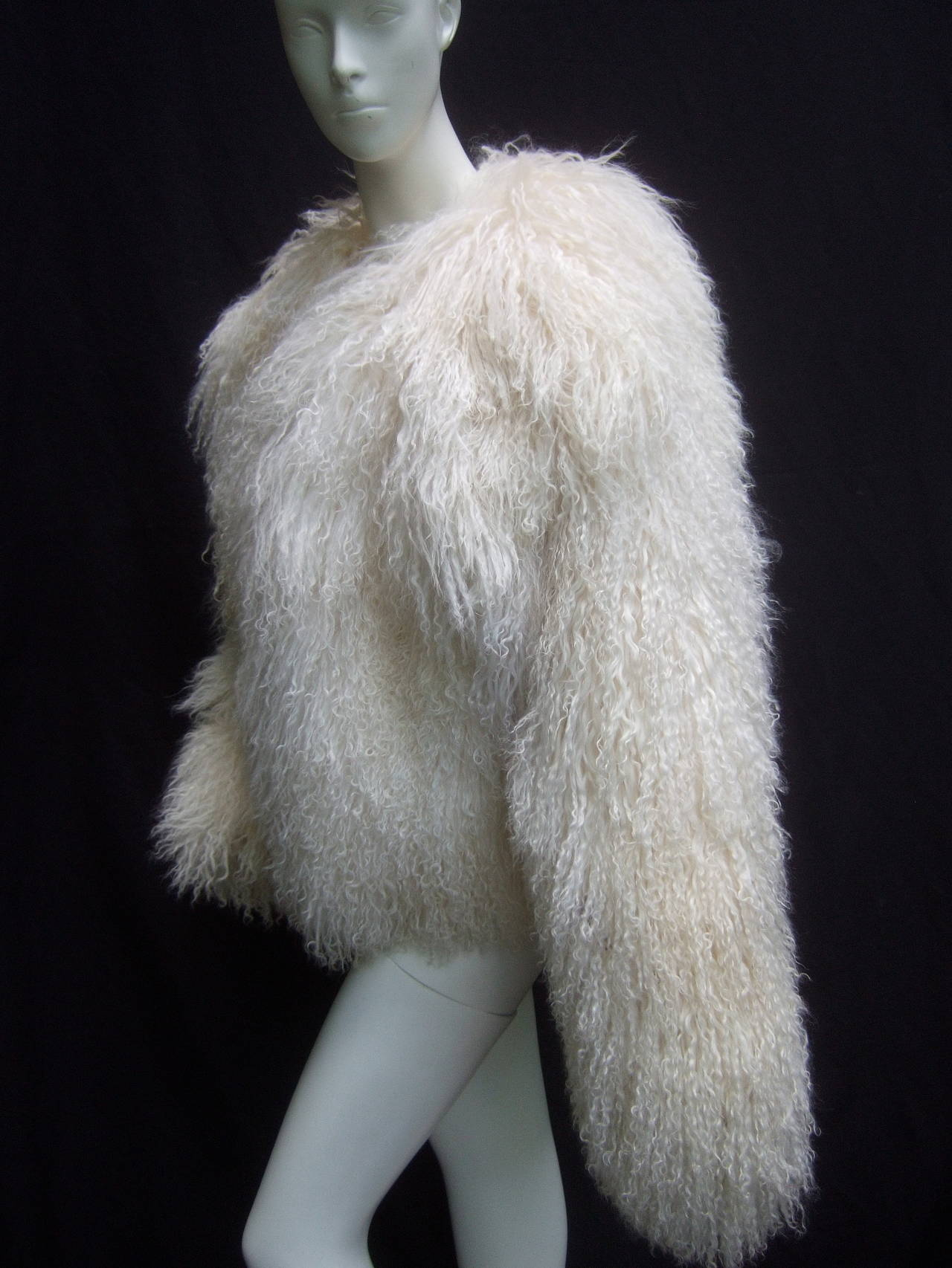 Tibetan Fluffy Lamb Fur Chubby Jacket for Neiman Marcus c 1980s 4