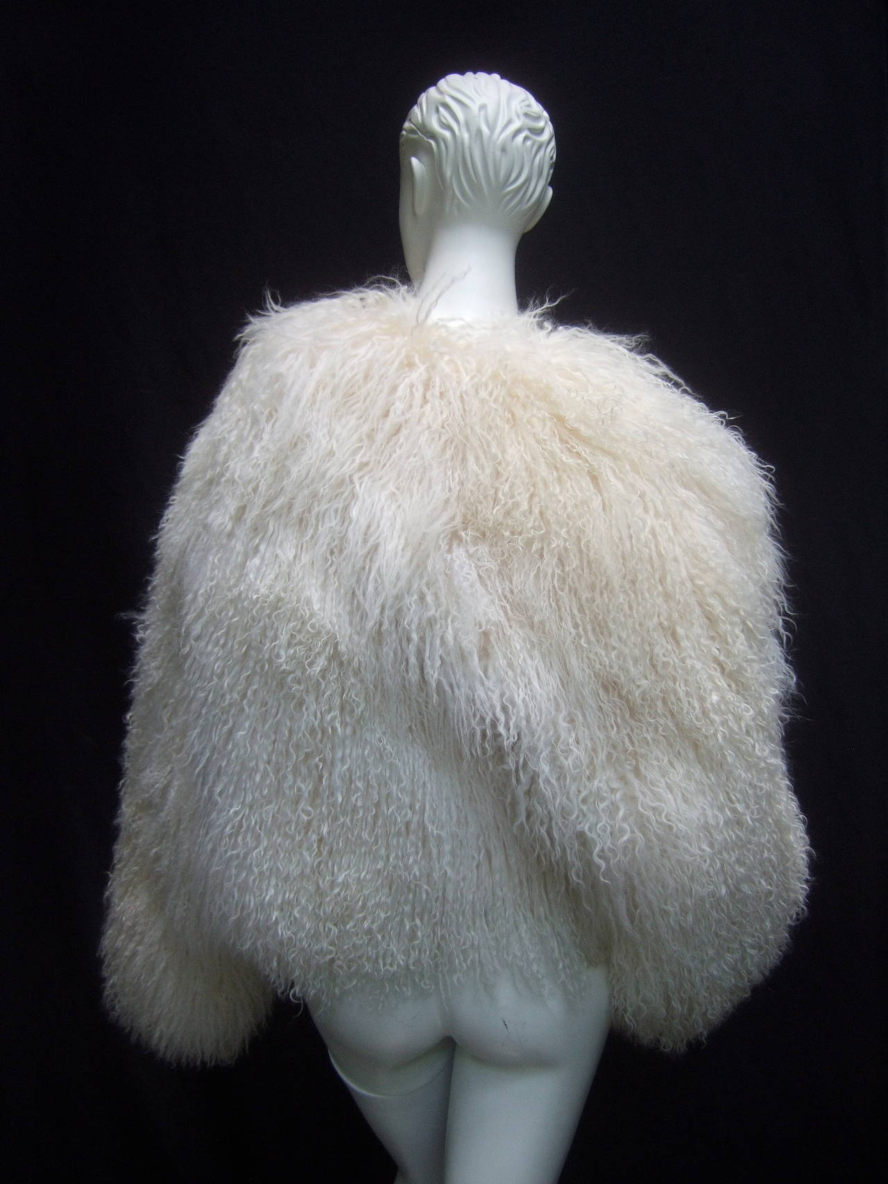 Tibetan Fluffy Lamb Fur Chubby Jacket for Neiman Marcus c 1980s 7
