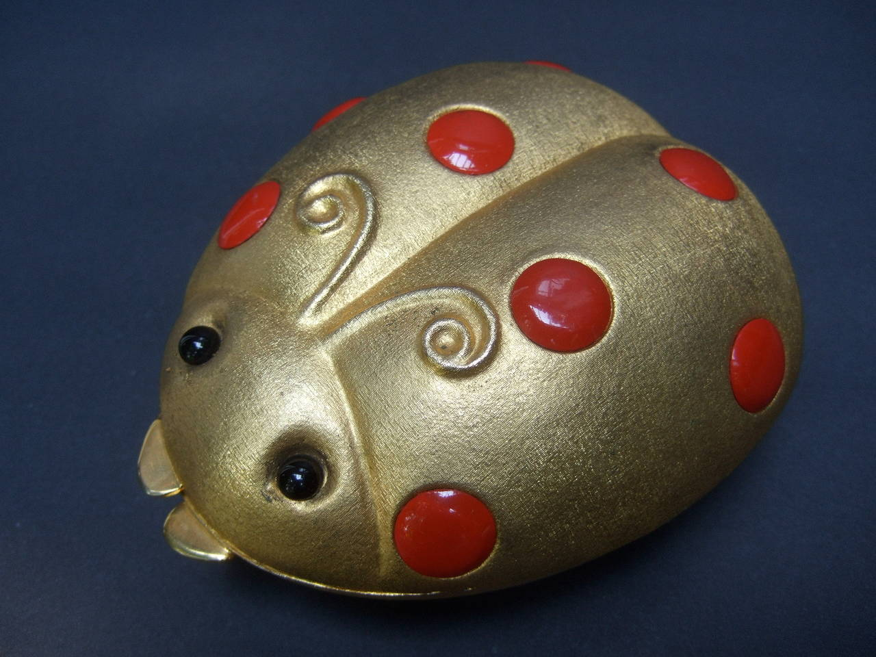 Saks Fifth Avenue Gilt Metal Lady Bug Evening Bag Made in Italy c 1970 For Sale 1