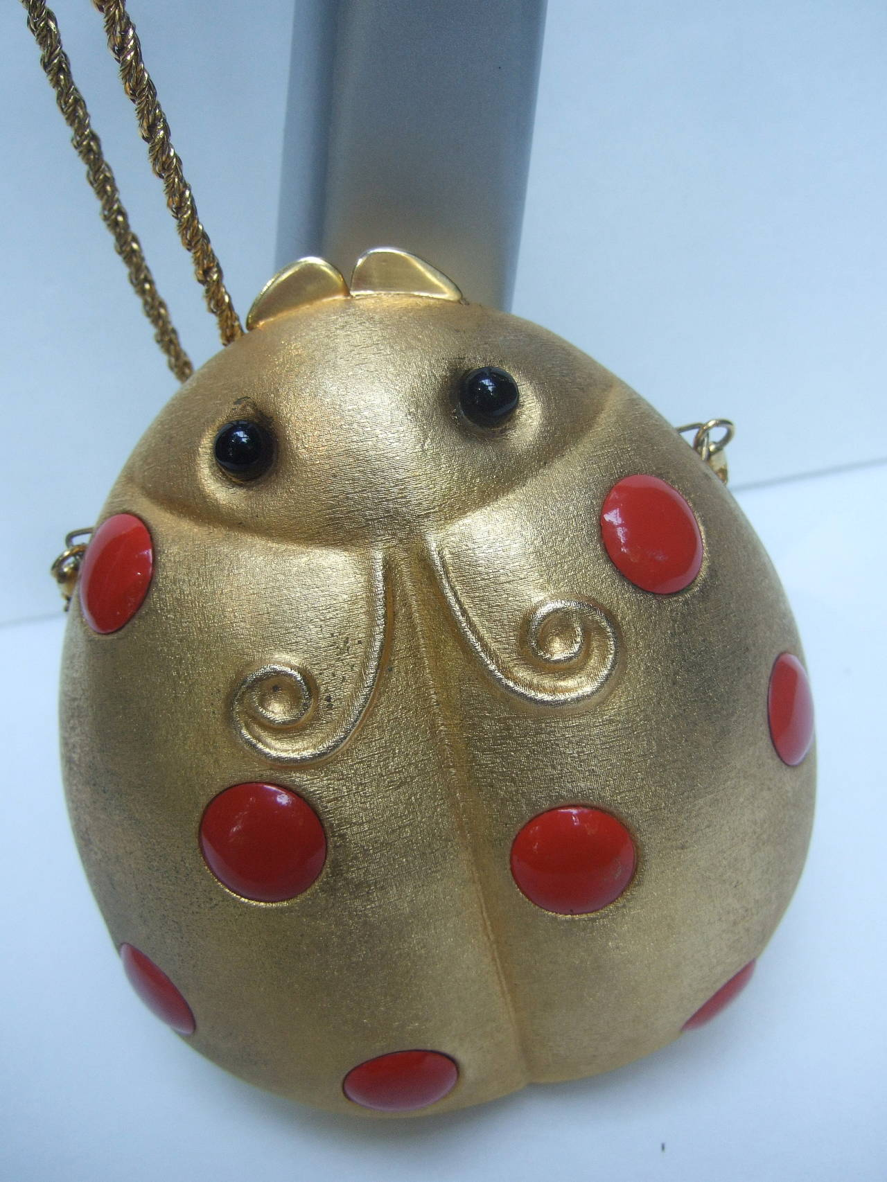Saks Fifth Avenue Gilt Metal Lady Bug Evening Bag Made in Italy c 1970 For Sale 3