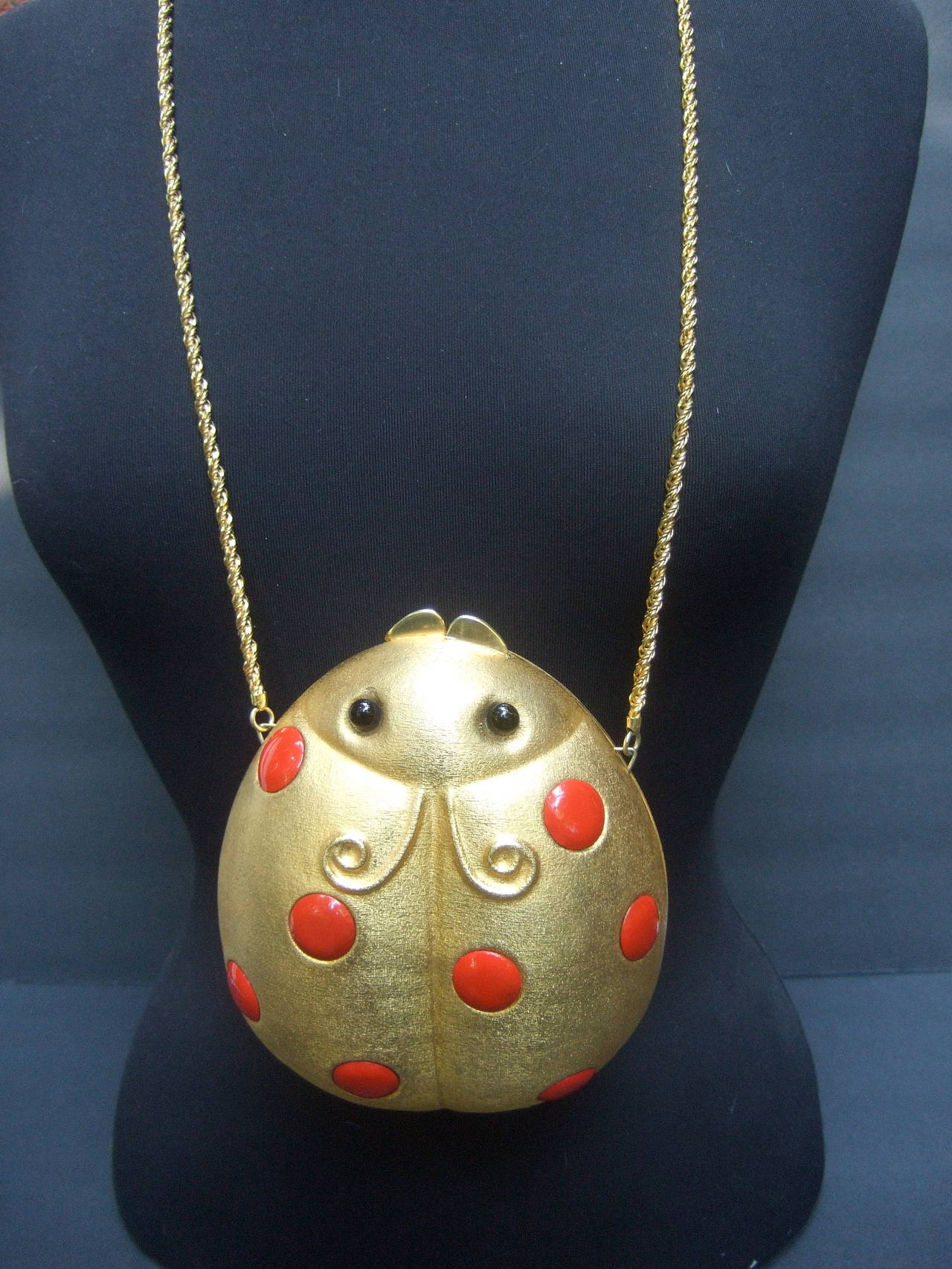 Women's Saks Fifth Avenue Gilt Metal Lady Bug Evening Bag Made in Italy c 1970 For Sale