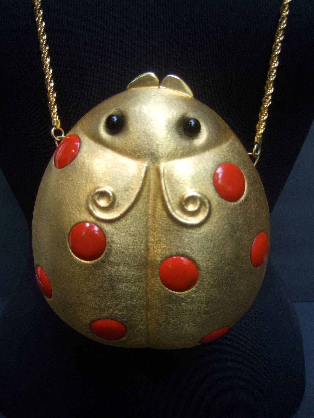 Saks Fifth Avenue Gilt Metal Lady Bug Evening Bag Made in Italy c 1970 In Good Condition For Sale In Santa Barbara, CA