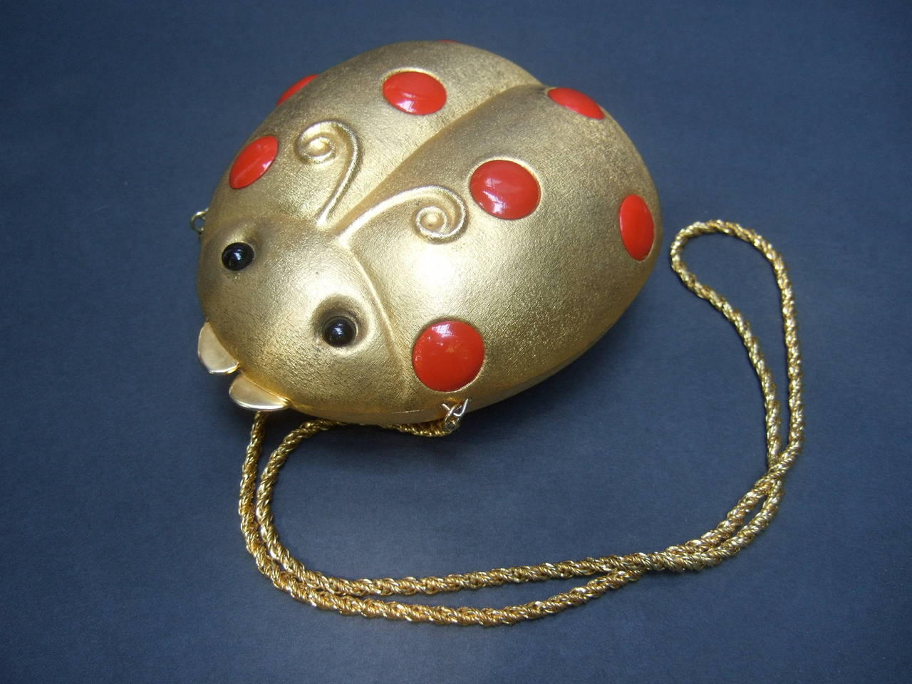 Brown Saks Fifth Avenue Gilt Metal Lady Bug Evening Bag Made in Italy c 1970 For Sale