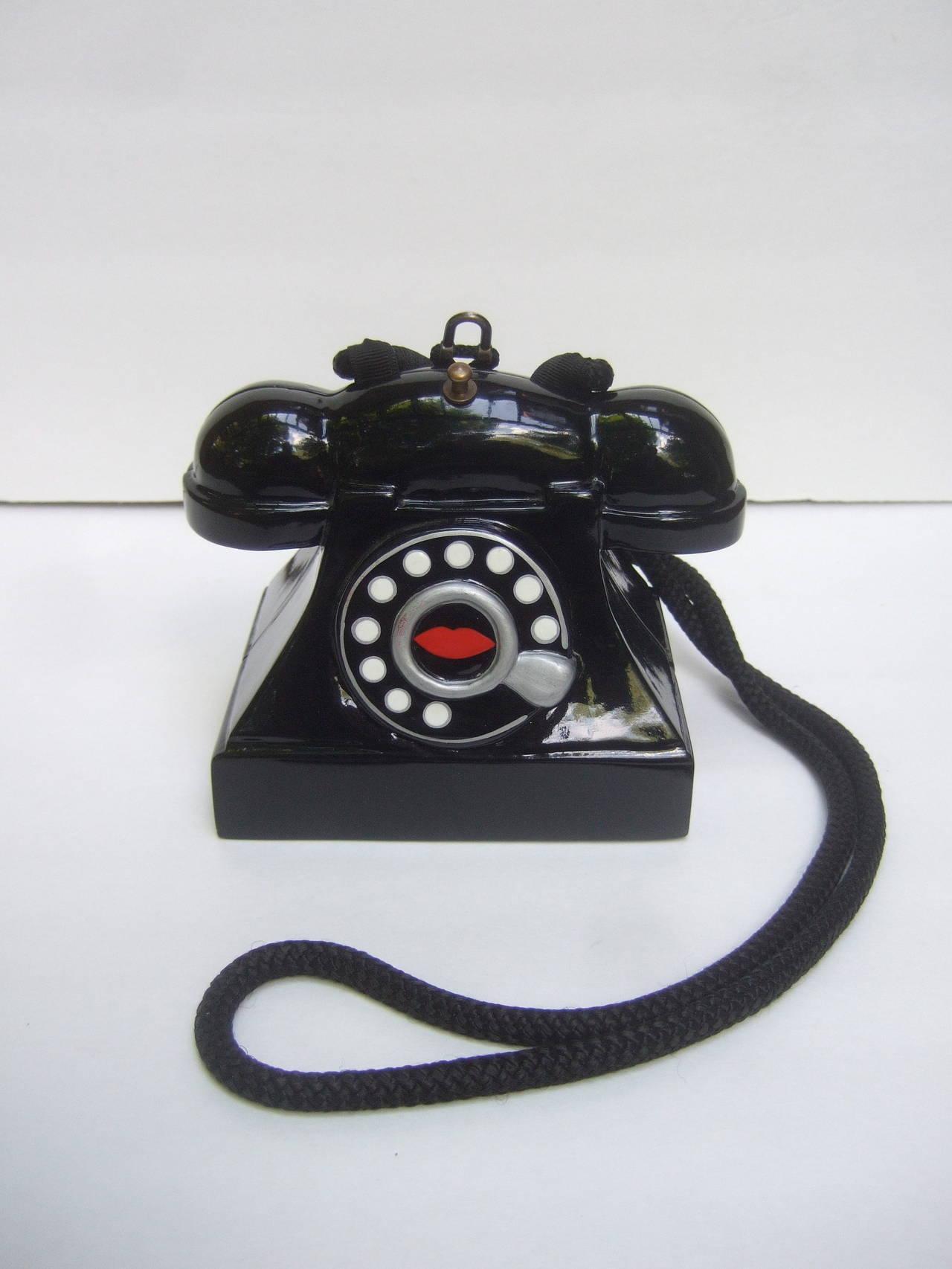 1stdibs Timmy Woods Bevery Hills Whimsical Black Enamel Telephone Handbag FHOTkkTw