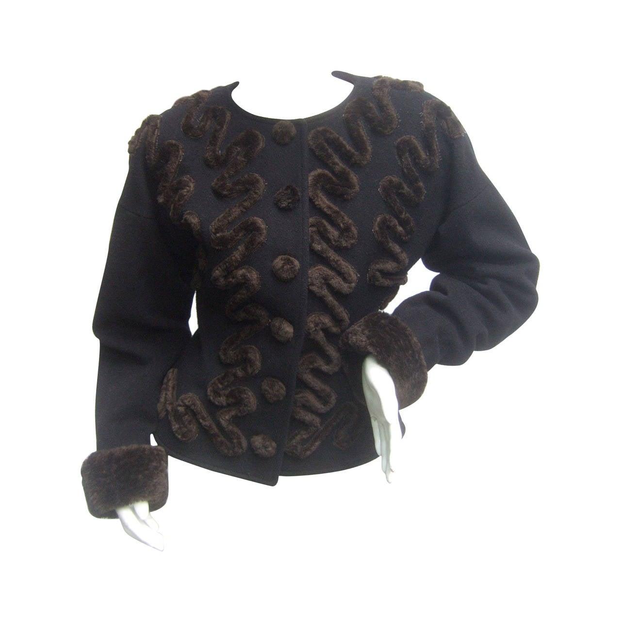 Fendi Italy Black Wool Applique Faux Fur Jacket Size 42 ca 1990s