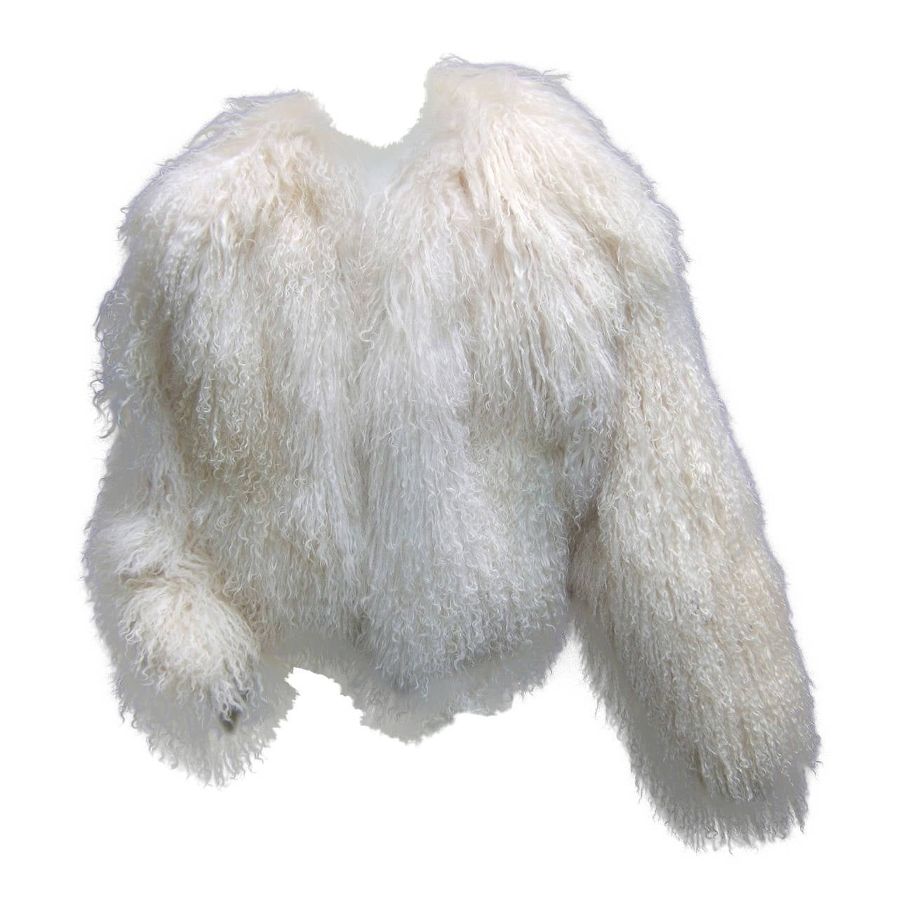 Tibetan Fluffy Lamb Fur Chubby Jacket for Neiman Marcus c 1980s 1