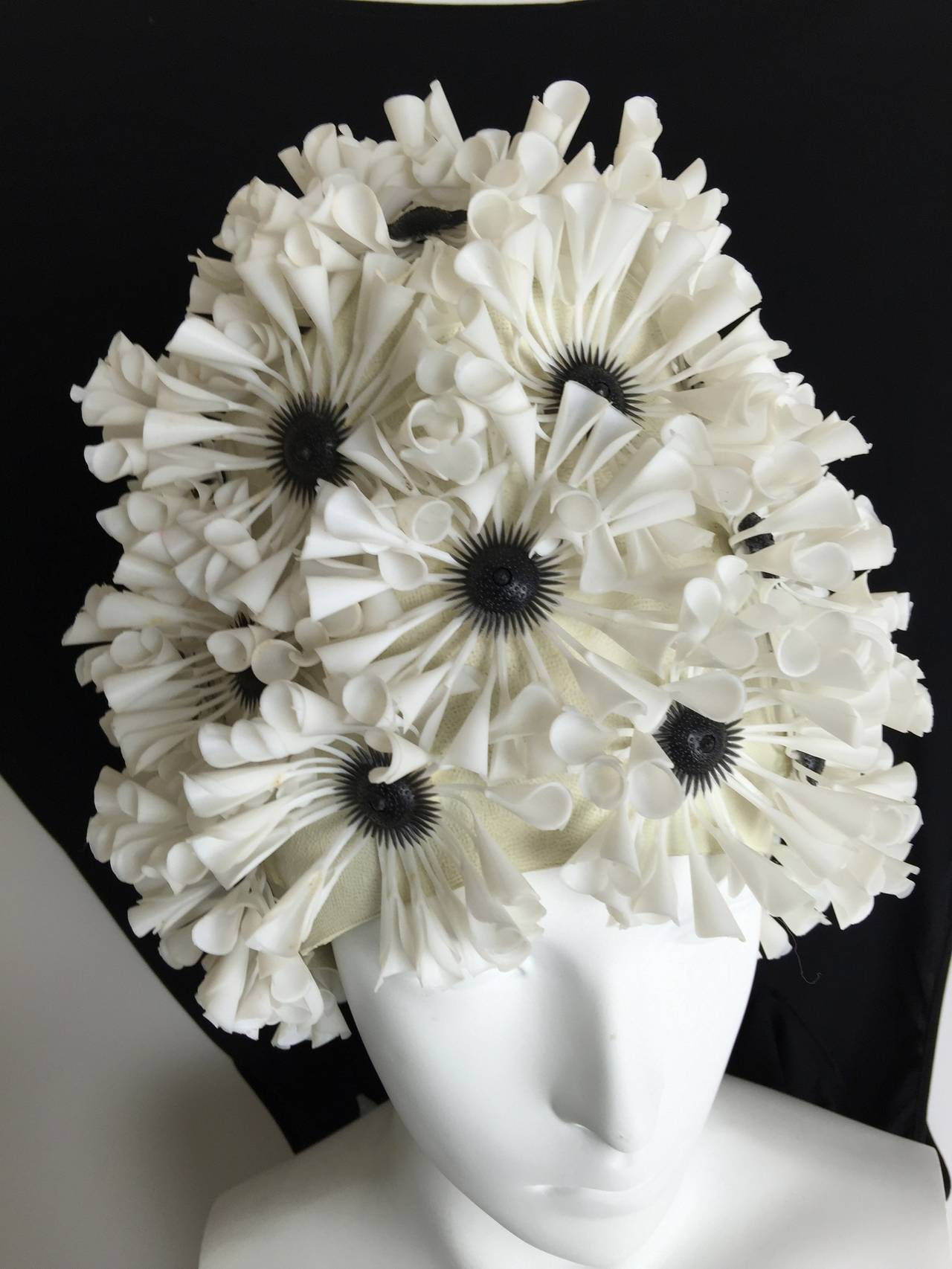 Original late 1950's swimming cap encrusted with white blossoms.  