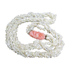 Opulent Freshwater Pearl Carved Coral Braided Necklace