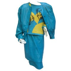 Louis Feraud Turquoise Leather Andy Warhol Inspired Skirt Suit c 1980s
