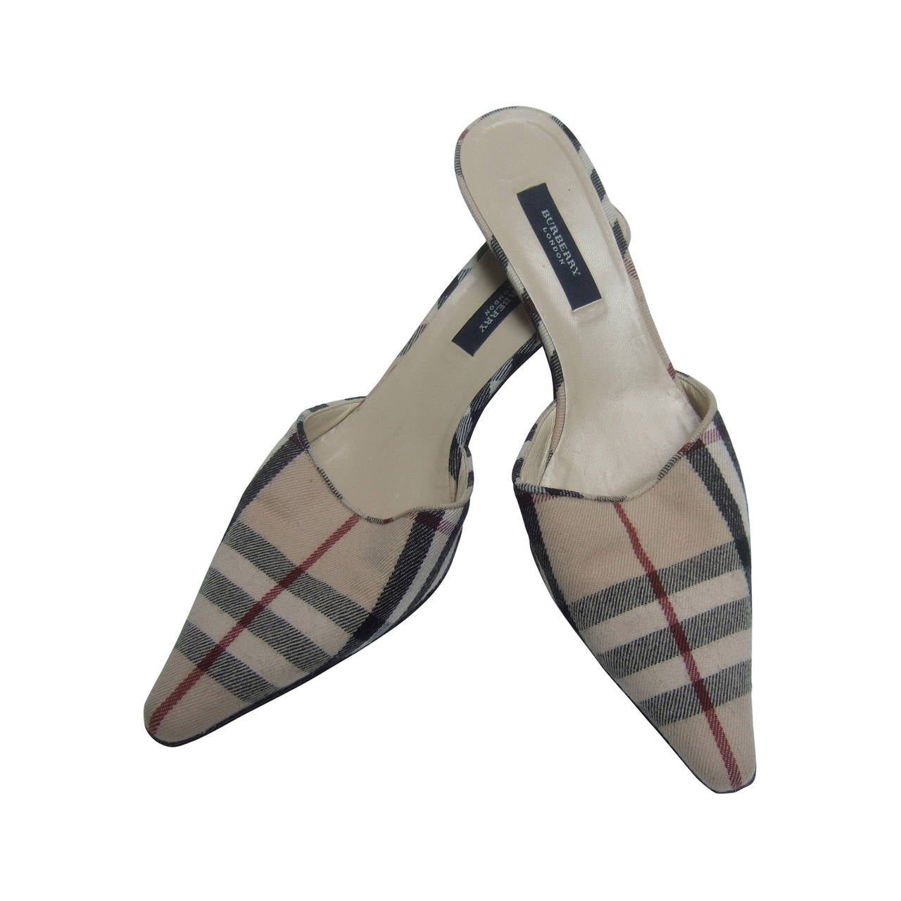 Burberry London Classic Nova Plaid Wool Mules Made in Italy Size 37.5 For Sale