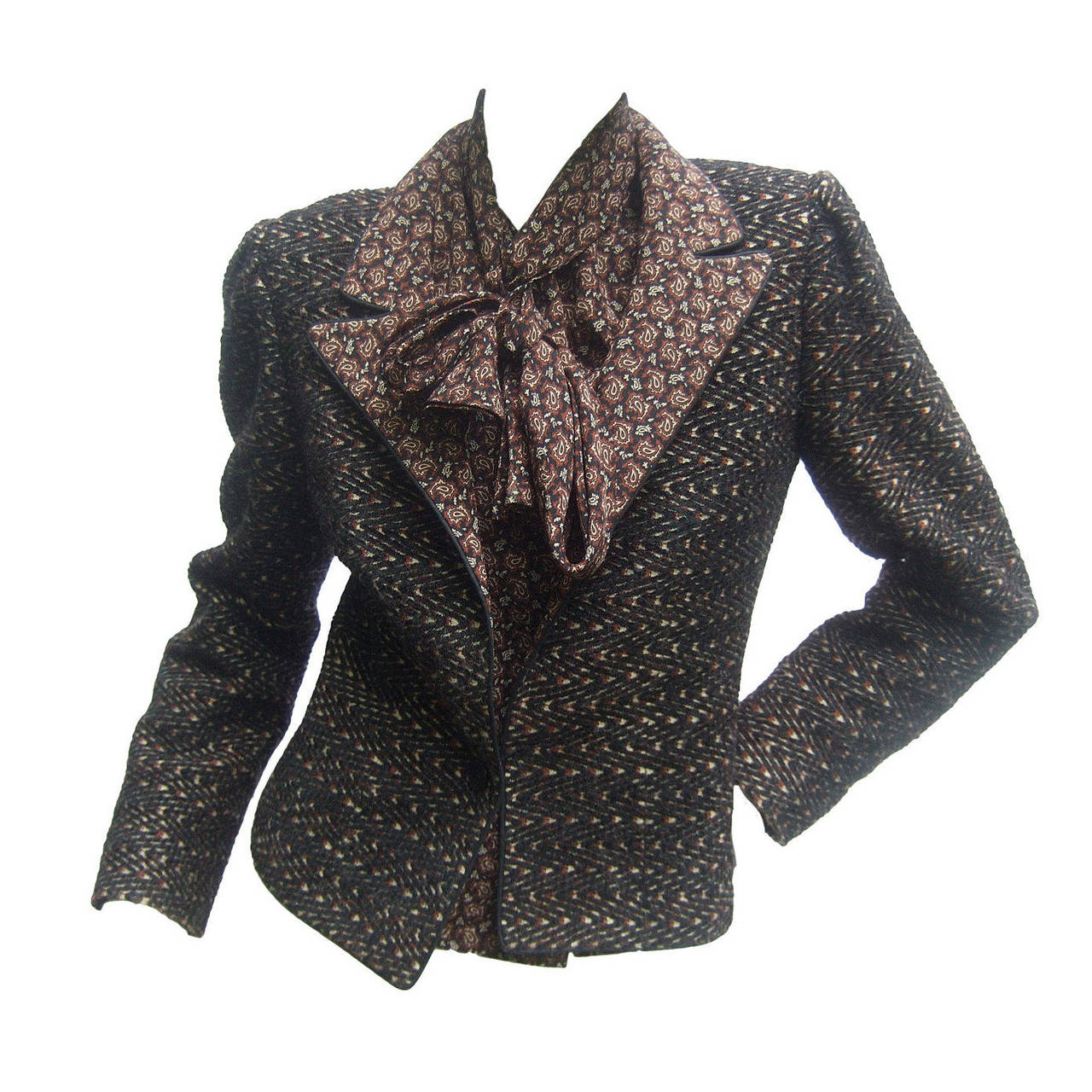 Lanvin Couture Paris Wool Jacket & Paisley Blouse Ensemble c 1980s 1