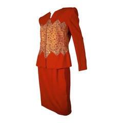 1980s Carolina Herrera Red Wool And Rhinestone Studded Mesh Suit