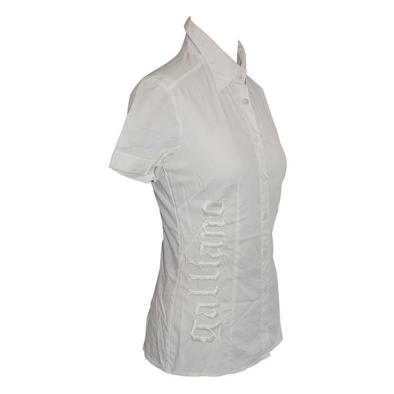 John Galliano White Blouse with Hand-Embroidered Accent