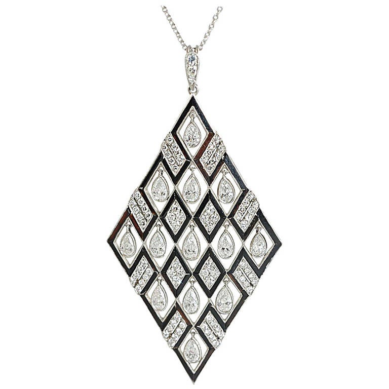 Onyx Diamond Platinum Pendant