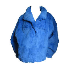 Electric Blue Fur Jacket