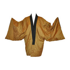 Rare Quilted Silk Japanese Kimono Jacket with Japanese Landscape Lining