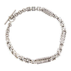 Victorian Sterling Silver Choker Link Chain Watch Fob Necklace c1880s