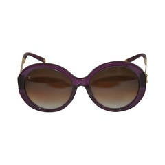 Louis Vuitton Deep Irresendent Purple Sunglasses with Gold Hardware Accent