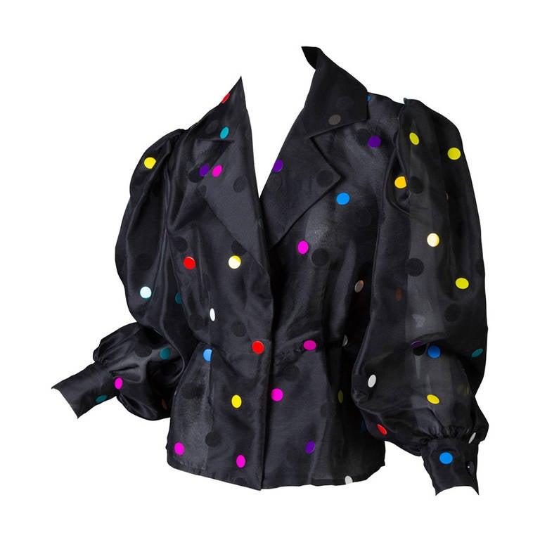 Vintage Givenchy  Boutique Black Organza Colorful Paillettes Polka Dots Blouse T 2