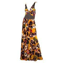 Missoni Silk velvet Pansy Print Crystal Waist Embellishment Dress 1930s Style