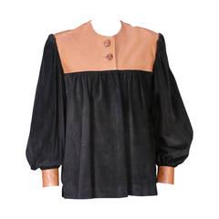 Mario Valentino Suede and Leather Artist Top