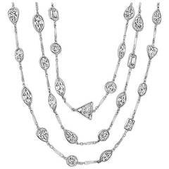 Diamond Platinum By The Yard Necklace