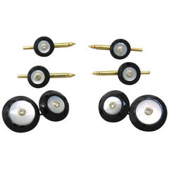 Trianon Onyx Mother Of Pearl Diamond Gold Cufflinks Stud Set