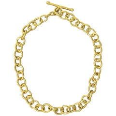 Cathy Waterman Gold Hammered Link Toggle Necklace