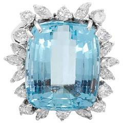 Large Aquamarine Diamond White Gold Ring