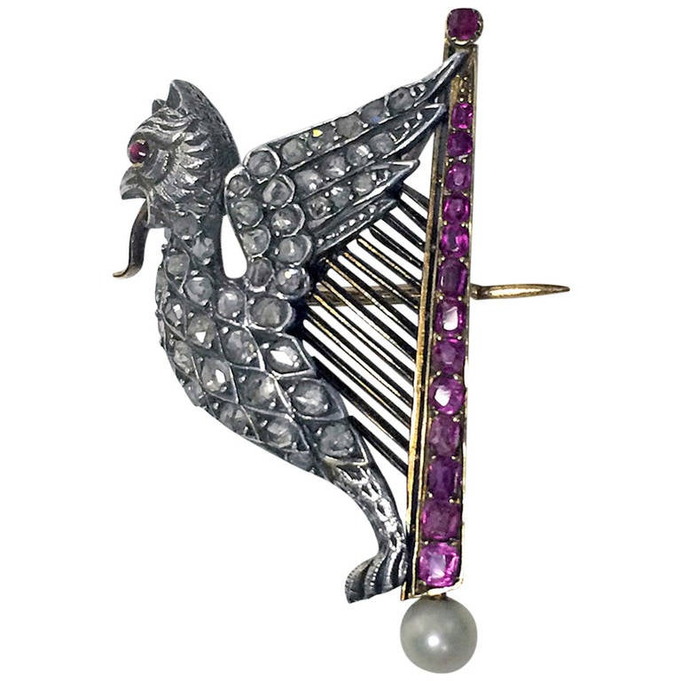 French Pearl Ruby Diamond Gold Griffin and Harp Brooch 1