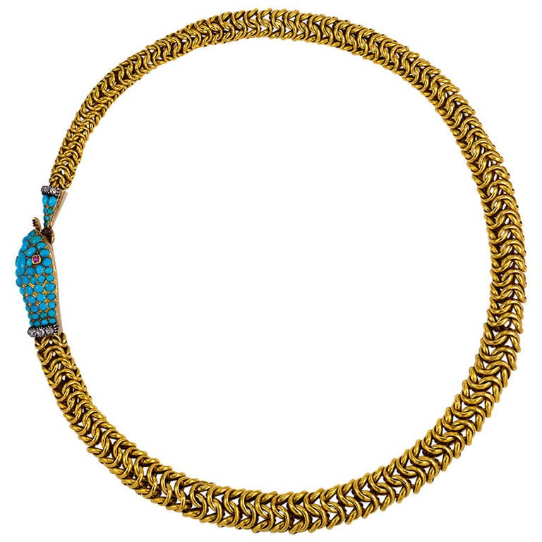 Antique Turquoise Ruby Diamond Gold Ouroboros Motif