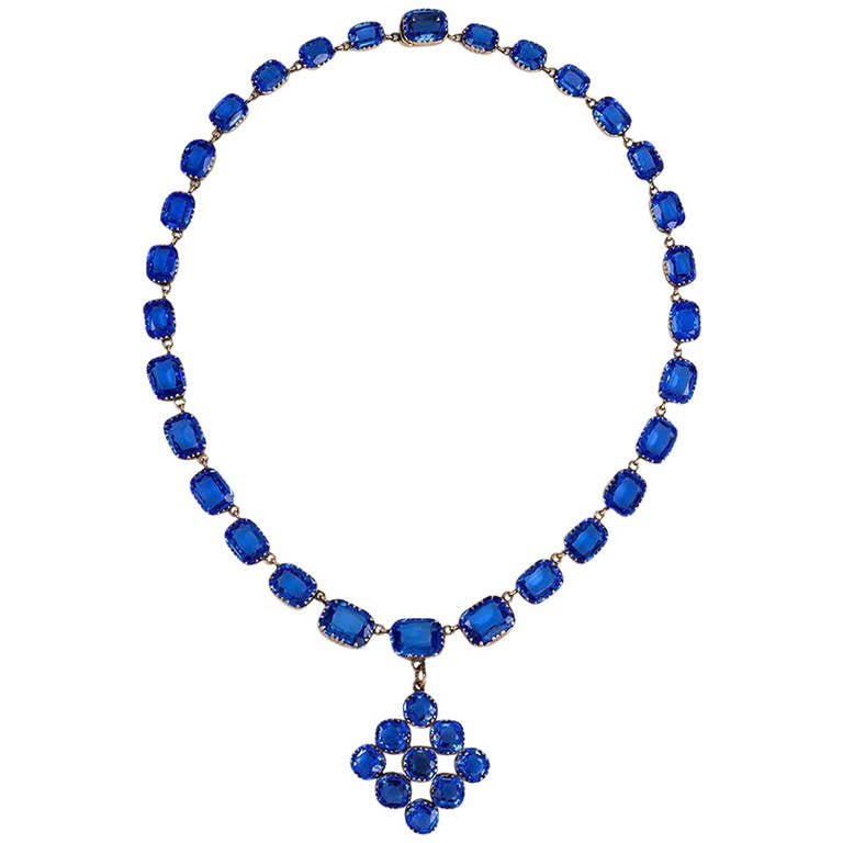 Late Georgian Blue Paste Riviere Necklace with Pendant 1