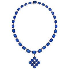 Late Georgian Blue Paste Riviere Necklace with Pendant