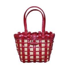 Nancy Gonzalez Magenta Woven Croc Handbag