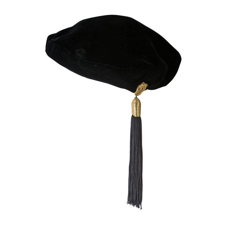 Vintage Yves Saint Laurent Russian Tassel Beret Hat YSL 1