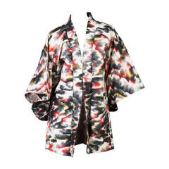 Vintage Japanese Multicolored Watercolor Print Kimono Jacket Vintage