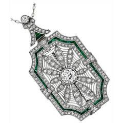 Art Deco Emerald Diamond Platinum Pin/Pendant Necklace