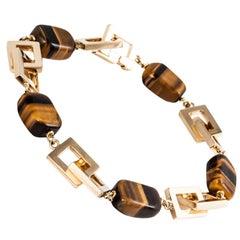 Tiger's Eye and Gold Link Bracelet