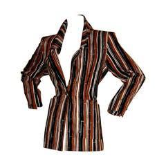 Vintage Yves Saint Laurent Rive Gauche Bamboo Blazer w/ Tribal Ethnic Buttons