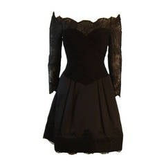 Vera Wang Black Off the Shoulder Silk Cocktail Dress with 3/4 Lace Sleeves