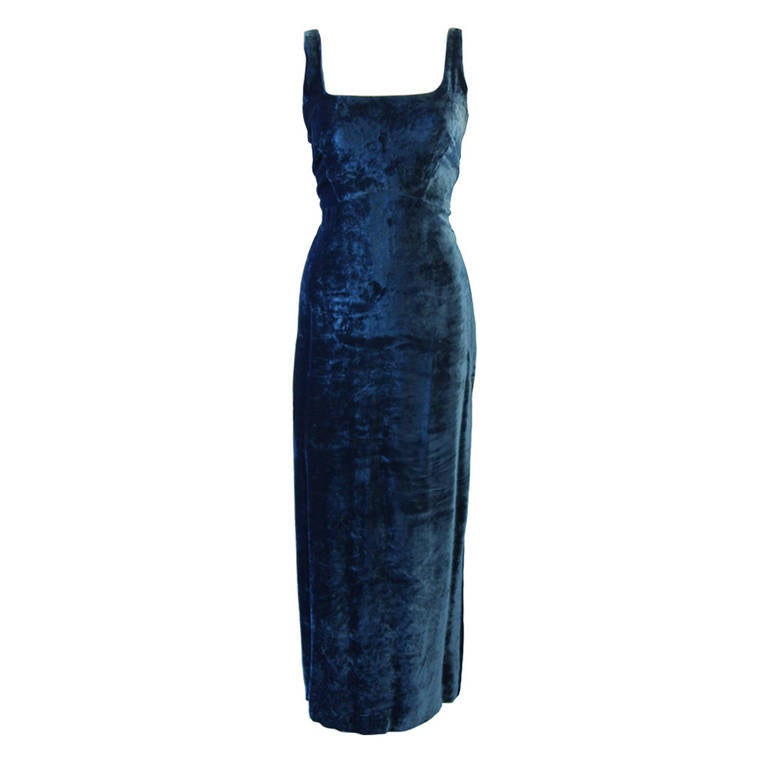 Dolce and Gabbana Jewel Blue Crushed Velvet Gown Circa 2000 Size 42 1