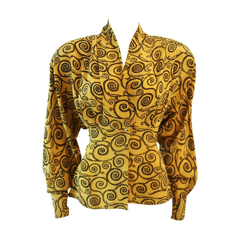Gianni Versace Mustard Yellow Blouse with Plunge Neckline Size 38 1