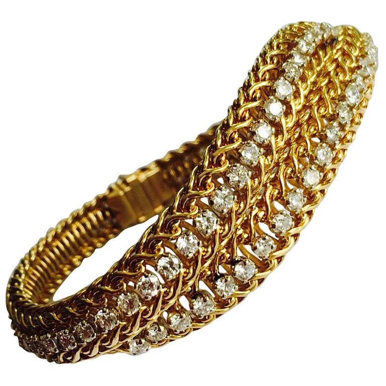 Hammerman Brothers Diamond Yellow Gold Bracelet at 1stdibs