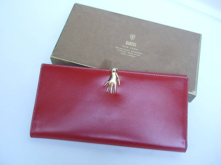 c72cae96cee3 GUCCI Cherry Red Leather Wallet with Gilt Metal Hand Clasp ca 1970s In Good  Condition For