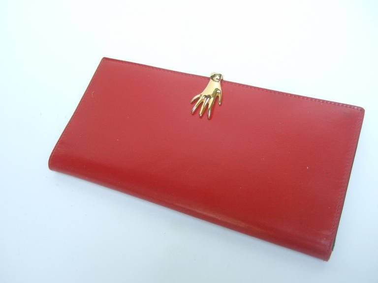81ad2877884d Women's GUCCI Cherry Red Leather Wallet with Gilt Metal Hand Clasp ca 1970s  For Sale